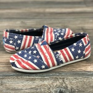 TOMS American flag red white and blue slip ons 7.5